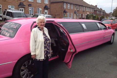88th Birthday treat in the pink limo!